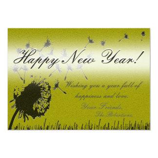 O feliz ano novo - cartão do desejo do ouro convite 12.7 x 17.78cm