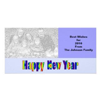 O feliz ano novo cartoes com fotos personalizados