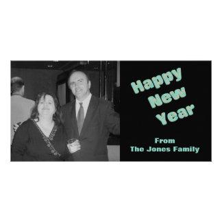 O feliz ano novo cartao com fotos personalizado