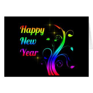 O feliz ano novo colorido cartão comemorativo