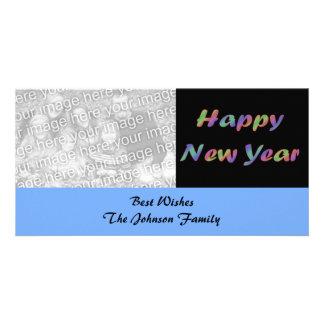 O feliz ano novo colorido cartão com fotos personalizado