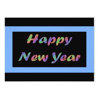 O feliz ano novo colorido convite 12.7 x 17.78cm