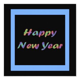 O feliz ano novo colorido convite quadrado 13.35 x 13.35cm