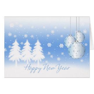 O feliz ano novo com árvores e Baubles do inverno Cartão Comemorativo