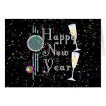 O feliz ano novo com Champagne & confetes Cartões