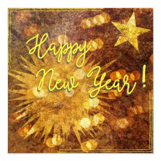 O feliz ano novo! convite quadrado 13.35 x 13.35cm