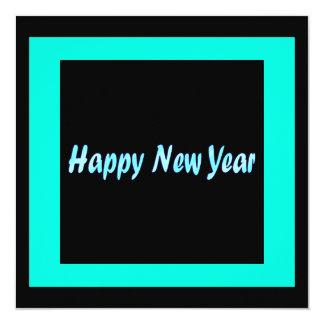 o feliz ano novo de turquesa convite quadrado 13.35 x 13.35cm