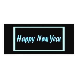 o feliz ano novo de turquesa convite 10.16 x 23.49cm