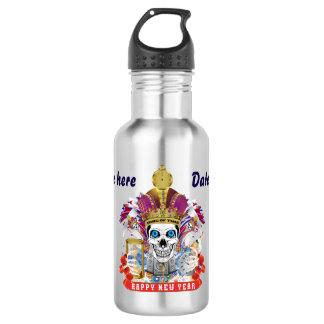 O feliz ano novo do carnaval! notas da vista garrafa d'água