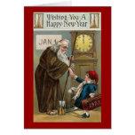 O feliz ano novo do vintage cartões