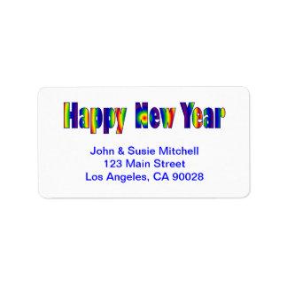 O feliz ano novo etiqueta de endereço