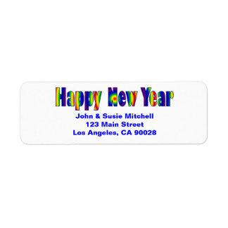 O feliz ano novo etiqueta endereço de retorno
