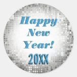 O feliz ano novo! Etiquetas legal Sparkling Adesivo Redondo