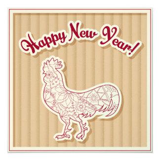 O feliz ano novo no cartão convite quadrado 13.35 x 13.35cm
