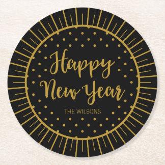 O feliz ano novo preto elegante do roteiro de porta-copo redondo