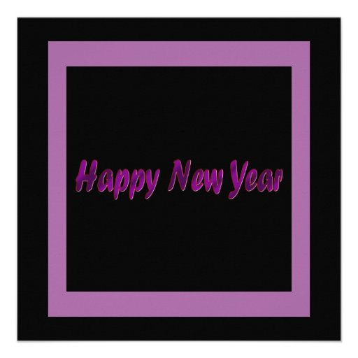 o feliz ano novo roxo convite
