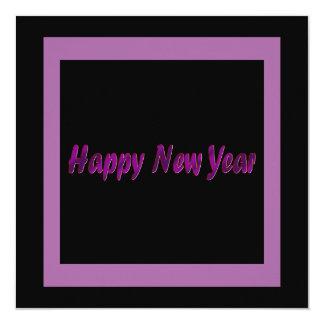 o feliz ano novo roxo convite quadrado 13.35 x 13.35cm