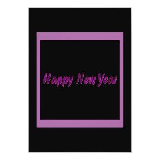 o feliz ano novo roxo convite 12.7 x 17.78cm