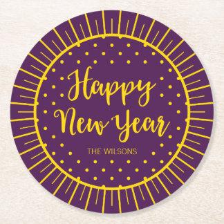O feliz ano novo roxo vibrante do roteiro de porta-copo redondo