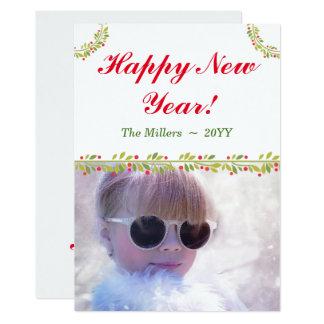 O feliz ano novo verde dos cartões de natal da convite 12.7 x 17.78cm