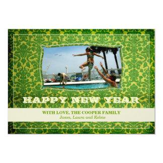 O feliz ano novo verde vibrante do vintage | do GC Convite Personalizados