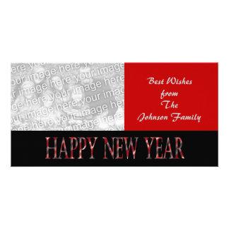 o feliz ano novo vermelho cartao com fotos