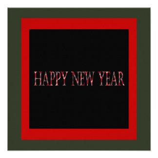 o feliz ano novo vermelho convites