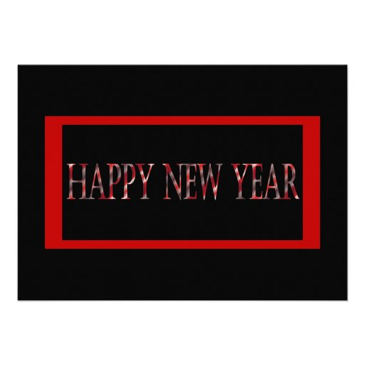 o feliz ano novo vermelho convites personalizados