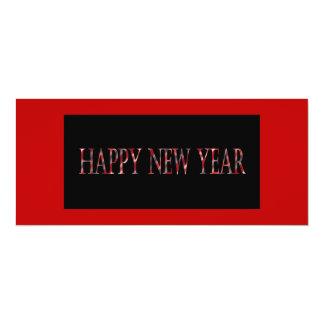 o feliz ano novo vermelho convite 10.16 x 23.49cm