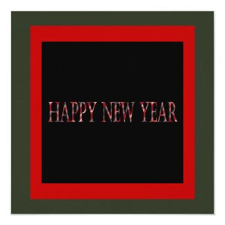 o feliz ano novo vermelho convite quadrado 13.35 x 13.35cm