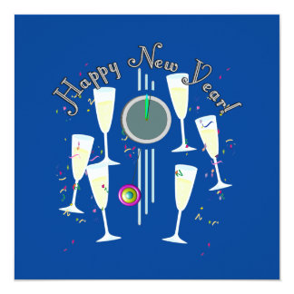 O feliz ano novo - vidros e pulso de disparo de convite quadrado 13.35 x 13.35cm