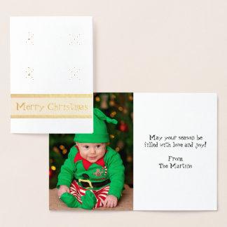 O Feliz Natal adiciona seu cartão da folha da foto