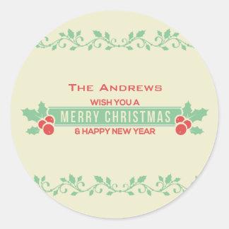 O Feliz Natal vermelho e da hortelã personalizou Adesivo Redondo