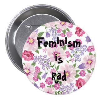 O feminismo é botão do Rad Bóton Redondo 7.62cm