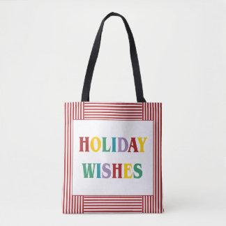 O feriado colorido deseja a sacola da tipografia bolsa tote