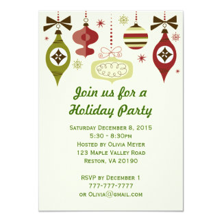 O feriado do Natal Ornaments convites de festas