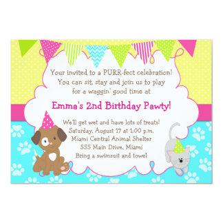 O filhote de cachorro 3 & o aniversário 4 convite 12.7 x 17.78cm
