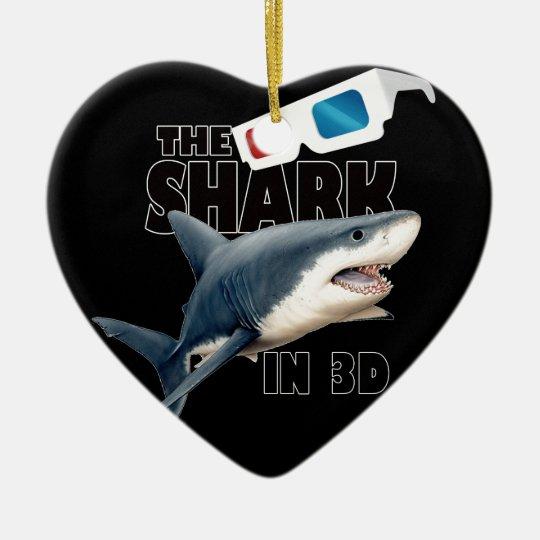 O filme do tubarão ornamento de cerâmica coração