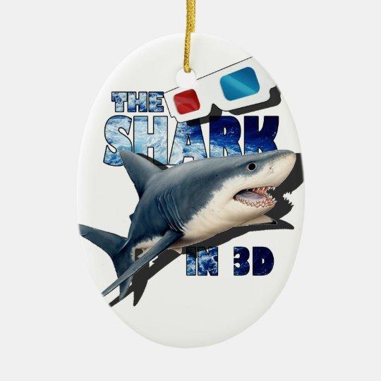 O filme do tubarão ornamento de cerâmica oval