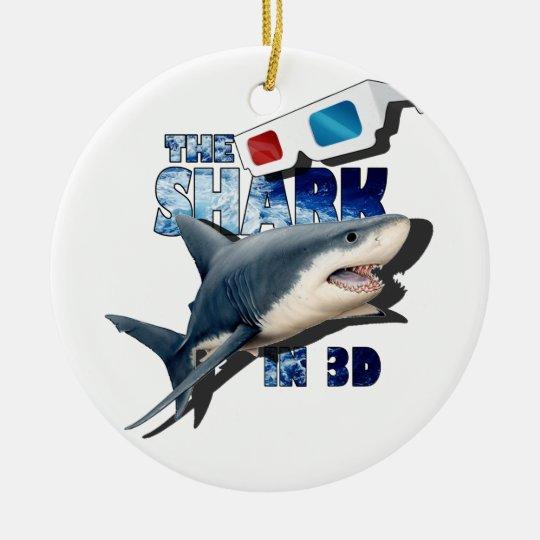 O filme do tubarão ornamento de cerâmica redondo