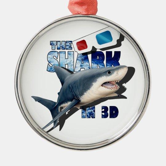 O filme do tubarão ornamento redondo cor prata