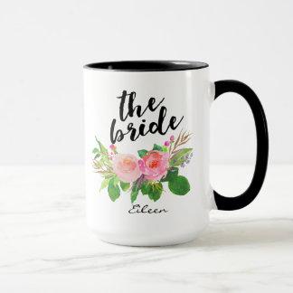 O floral da aguarela da noiva personalizado caneca