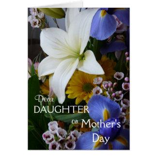 O floral Dia-Filha-Bonito da mãe feliz Cartão Comemorativo