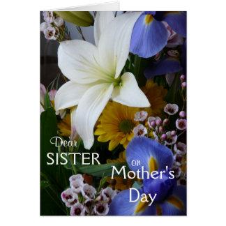 O floral Dia-Irmã-Bonito da mãe feliz Cartão Comemorativo