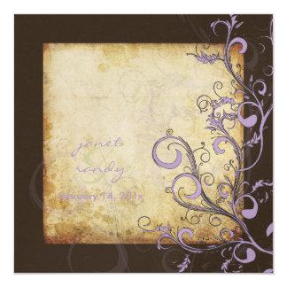 O flourish do vintage roda/chocolate/lilac/lavanda convite quadrado 13.35 x 13.35cm