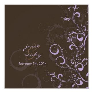 O Flourish/redemoinhos sae/chocolate/lilac/lavanda Convite Quadrado 13.35 X 13.35cm