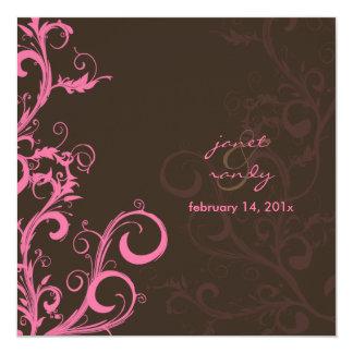 O Flourish/redemoinhos sae/rosa/chocolate Convite Quadrado 13.35 X 13.35cm