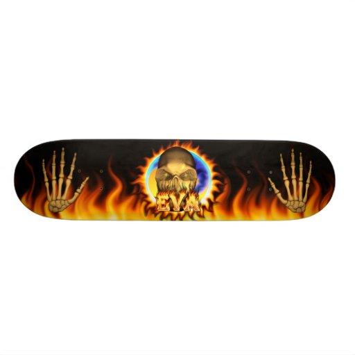 O fogo real do crânio de Eva e o skate das chamas