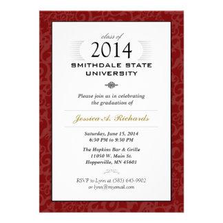 O formando elegante vermelho do branco & do ouro ( convite personalizados