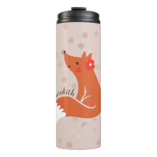O Fox bonito com flor/cora fundo dos confetes
